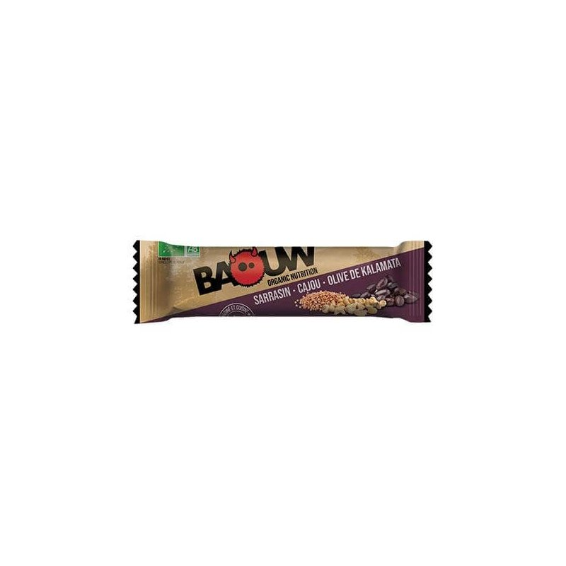 Barre énergétique Baouw Bio Sarrasin Cajou Olive de Kalamata - montisport.fr