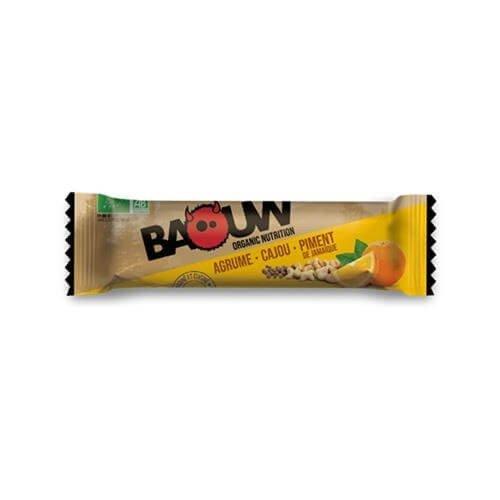 Barre énergétique Baouw Bio Agrume Cajou Piment de Jamaïque - montisport.fr