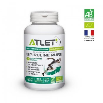 Spiruline Pure Bio Atlet - 300 comprimés - Montisport.fr