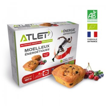 Moelleux énergétiques Bio Fruits Rouges ATLET - Boîte de 4 cakes